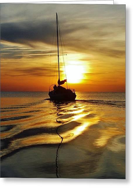 Sailboat Sunset 2 Pamlico Sound 2 4/24 Greeting Card by Mark Lemmon
