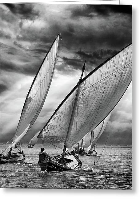 Sailboats And Light Greeting Card by Angel Villalba