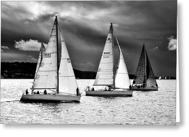 Sailboats And Storms Greeting Card by Photography  By Sai