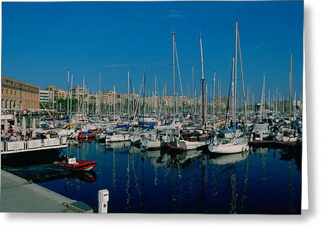 Sailboats At A Harbor, Barcelona Greeting Card by Panoramic Images