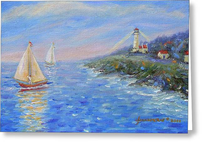 Sailboats At Heceta Head Lighthouse Greeting Card