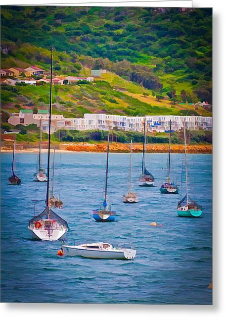 Sailboats At Simons Town Greeting Card by Cliff C Morris Jr