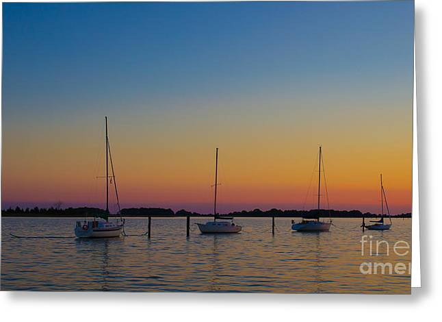 Sailboats At Sunset Clinton Connecticut Greeting Card by Edward Fielding