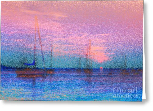 Sailboats At Sunset Greeting Card by Jeff Breiman