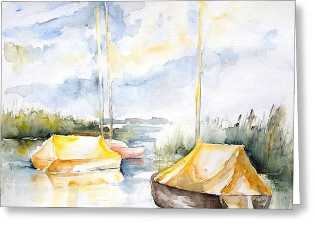 Sailboats Awakening Greeting Card by Barbara Pommerenke