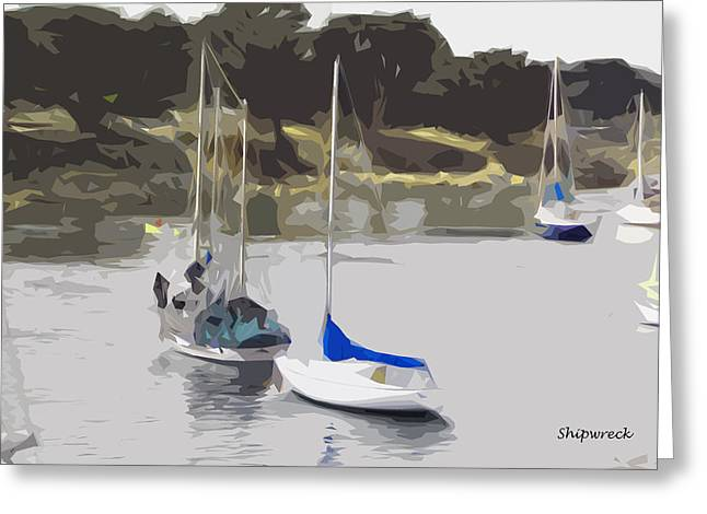 Sailboats Greeting Card by Christopher Bage