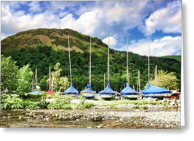 Sailboats Covered And Beached At Glenridding Greeting Card by Louise Heusinkveld