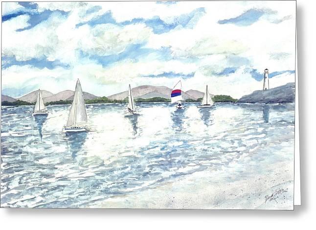 Sailboats Greeting Card by Derek Mccrea
