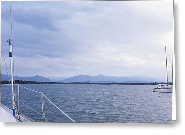 Sailboats In A Lake, Lake Starnberg Greeting Card by Panoramic Images