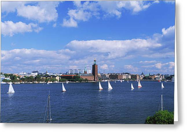 Sailboats In A Lake With The City Hall Greeting Card by Panoramic Images