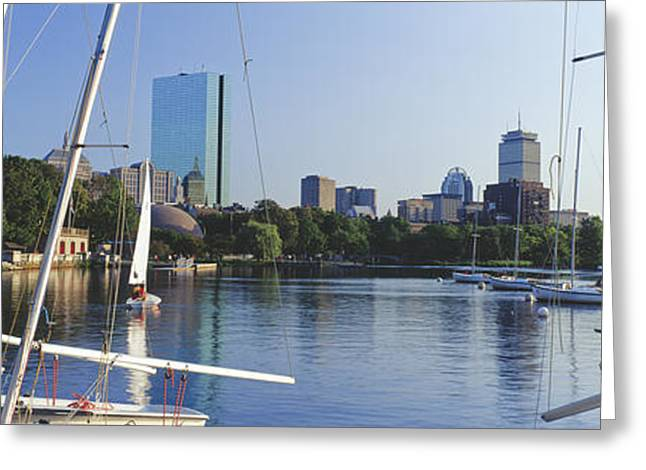Sailboats In A River With City Greeting Card by Panoramic Images
