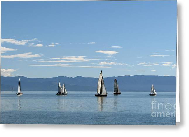 Greeting Card featuring the photograph Sailboats In Blue by Jola Martysz