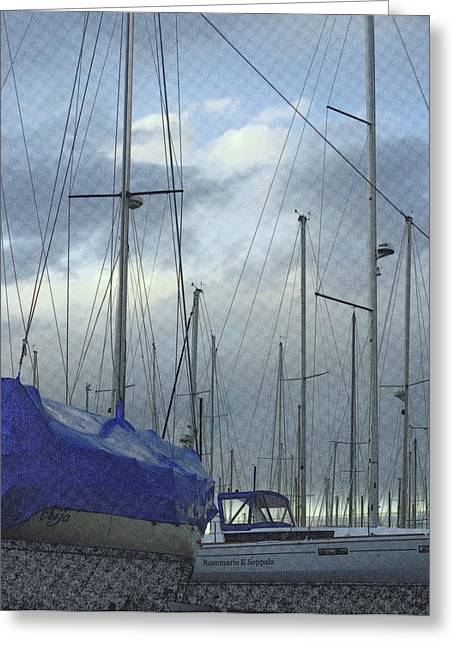 Sailboats In Dry Dock  Greeting Card by Rosemarie E Seppala