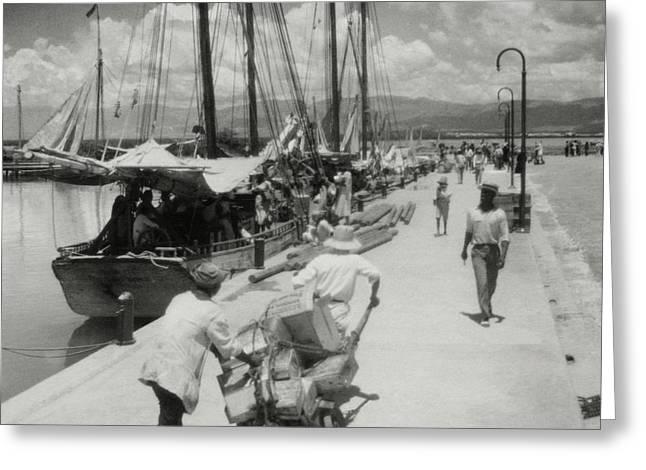 Sailboats In Haiti Greeting Card by Cecil Beaton