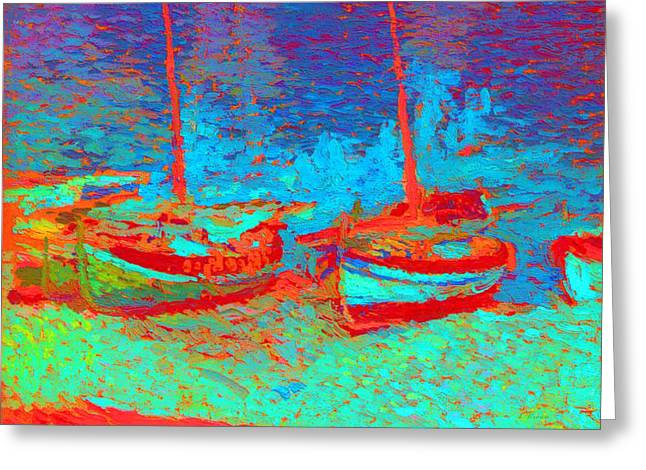 Sailboats In Port Collioure V Greeting Card by Henri Martin - L Brown