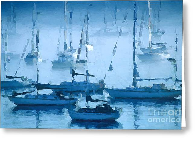 Sailboats In The Fog II Greeting Card