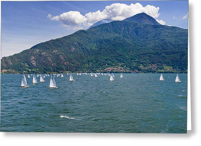 Sailboats In The Lake, Lake Como, Como Greeting Card by Panoramic Images