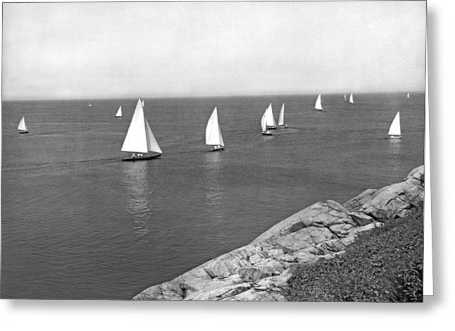 Sailboats On A Calm Day. Greeting Card by Underwood Archives