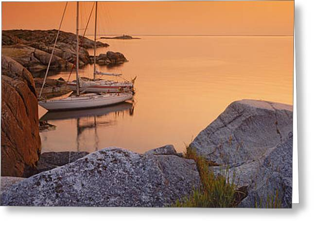 Sailboats On The Coast, Lilla Nassa Greeting Card by Panoramic Images