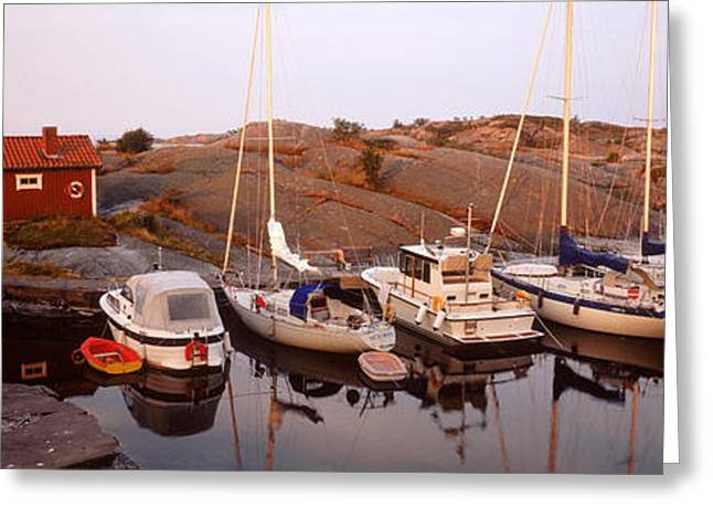 Sailboats On The Coast, Stora Nassa Greeting Card by Panoramic Images