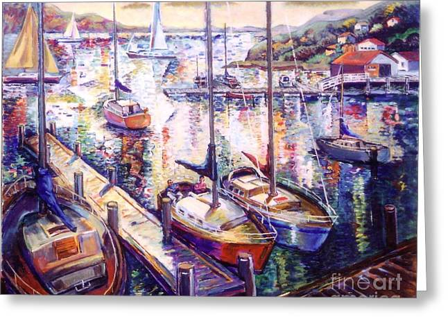 Sailboats Greeting Card by Stan Esson