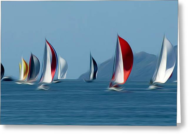 Sailboats Greeting Card by Stefan Petrovici