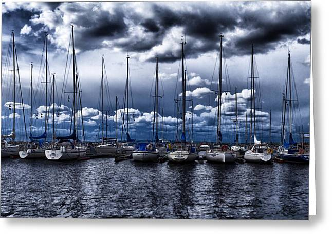 Sailboats Greeting Card by Stelios Kleanthous