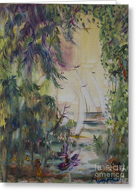 Sailboats Through The Trees Greeting Card