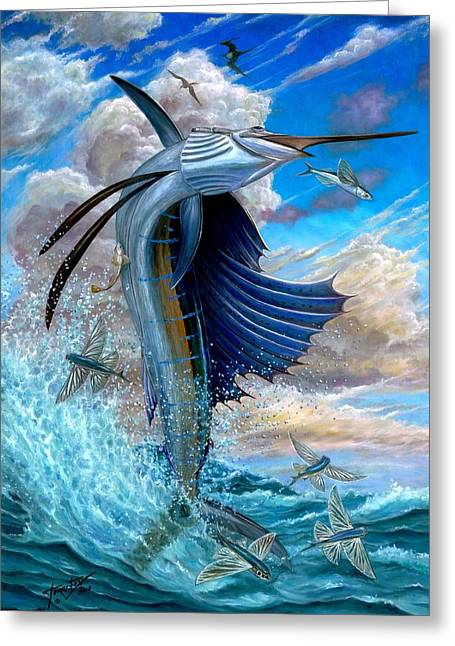 Sailfish And Flying Fish Greeting Card