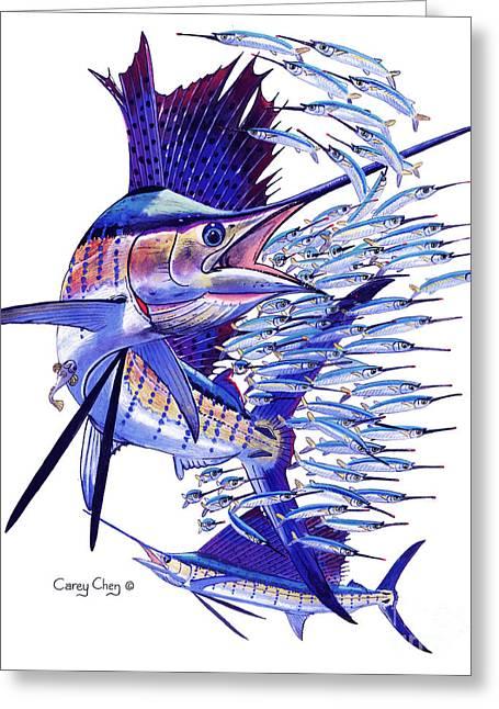 Sailfish Ballyhoo Greeting Card by Carey Chen
