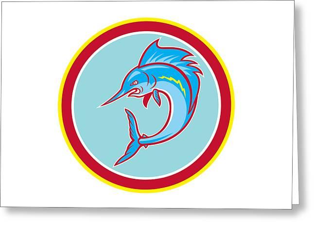 Sailfish Fish Jumping Circle Cartoon Greeting Card by Aloysius Patrimonio