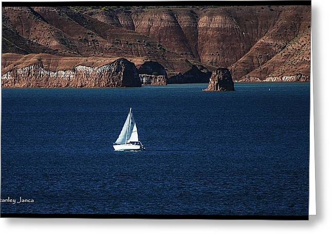 Greeting Card featuring the photograph Sailing At Roosevelt Lake On The Blue Water by Tom Janca