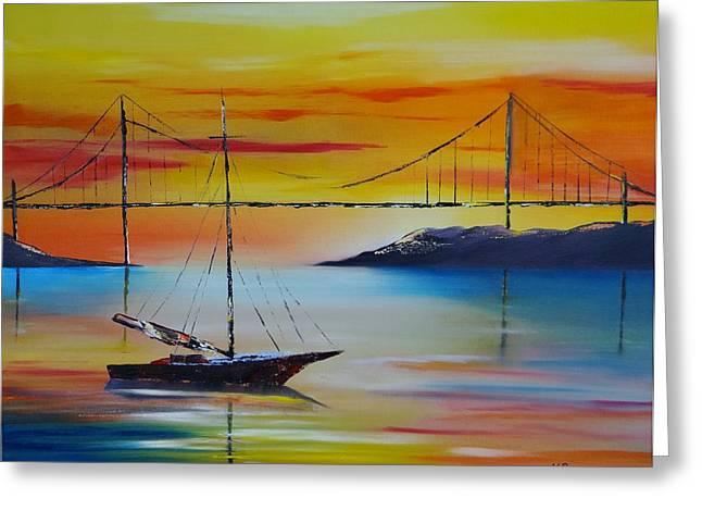 Sailing At Sunset Greeting Card