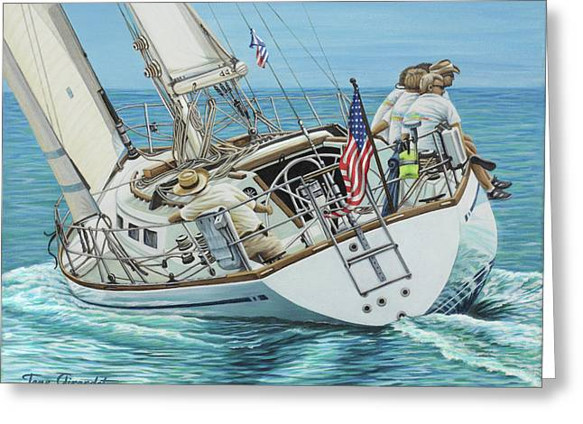 Greeting Card featuring the painting Sailing Away by Jane Girardot