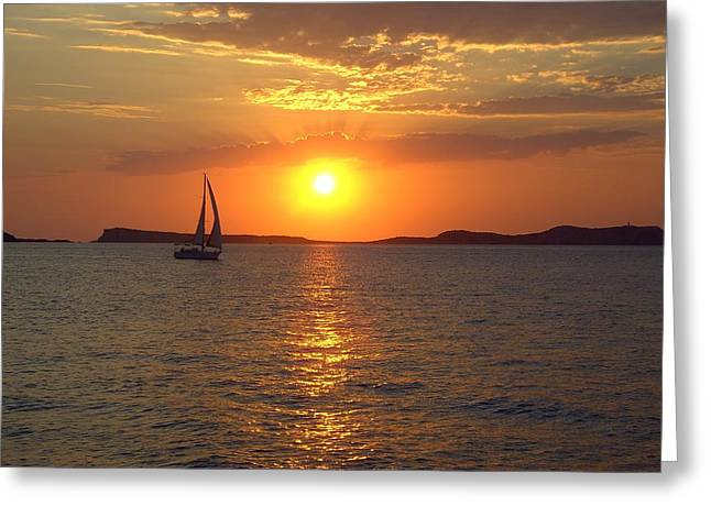 Sailing Boat In Ibiza Sunset Greeting Card