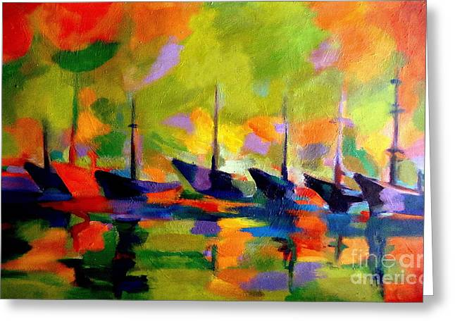 Sailing Boats By The River Greeting Card by Helena Wierzbicki
