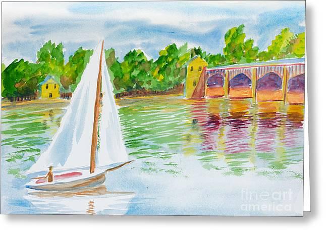 Sailing By The Bridge Greeting Card