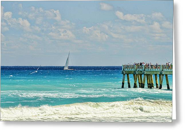 Sailing By The Pier Greeting Card by Don Durfee