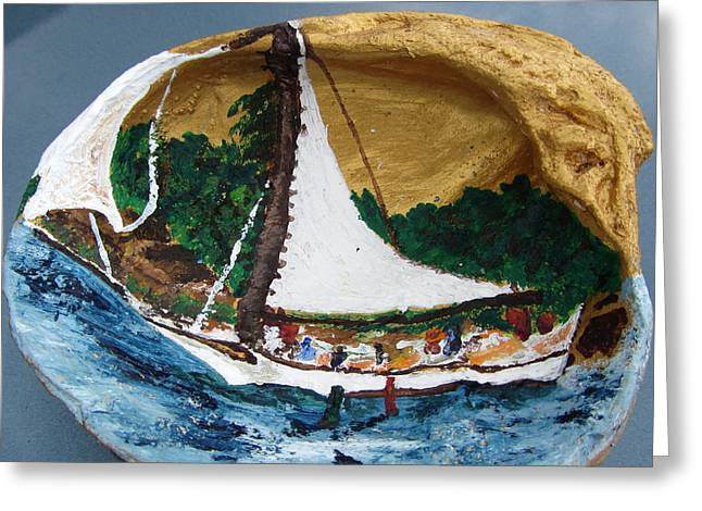 Sailing Forest Sea Greeting Card by Debbie Nester
