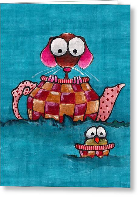 Sailing In A Teapot Greeting Card by Lucia Stewart
