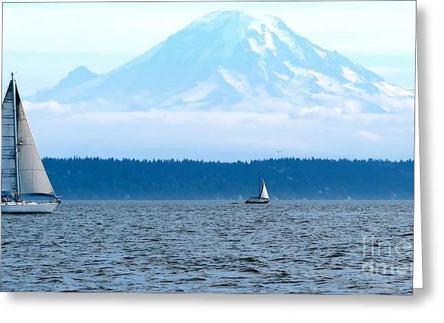 Sailing In Mt. Rainier's Shadow Greeting Card