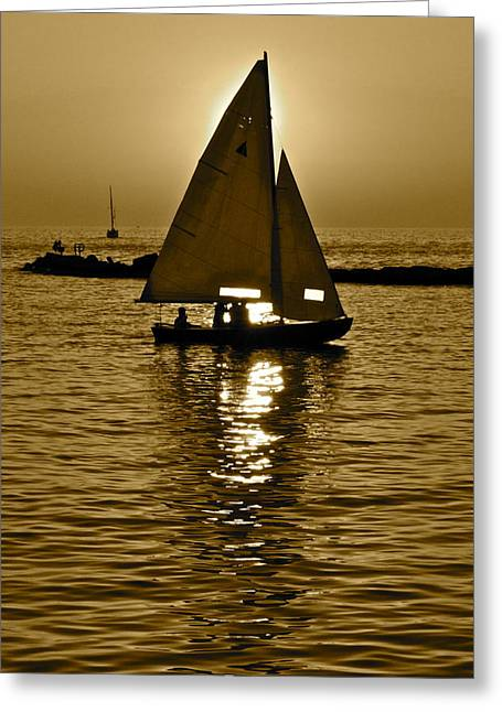 Sailing In Sepia Greeting Card by Frozen in Time Fine Art Photography