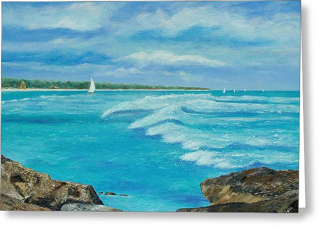 Sailing In The Bay Greeting Card by Susan DeLain