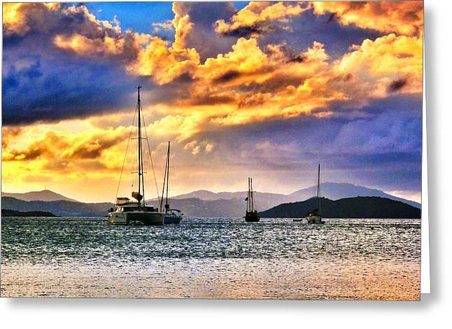 Sailing In The Sunset Greeting Card by Emily Eisenberg