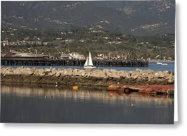 Sailing Into The Harbor Greeting Card