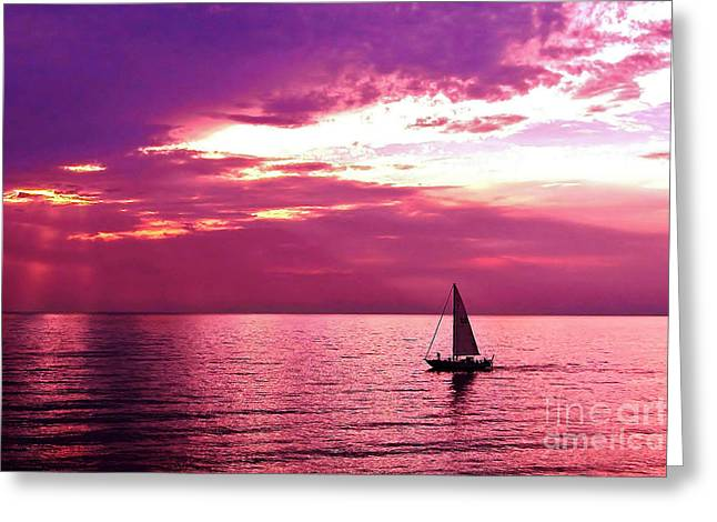 Sailing Into The Setting Sun Greeting Card