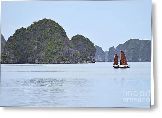Sailing Junk Boats In Halong Bay Greeting Card by Sami Sarkis