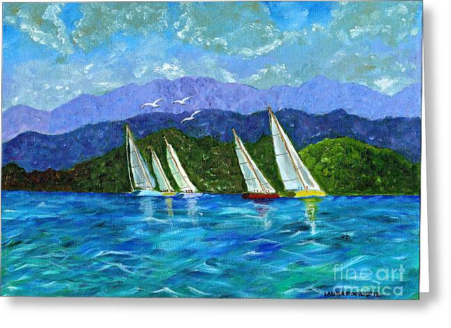 Greeting Card featuring the painting Sailing by Laura Forde