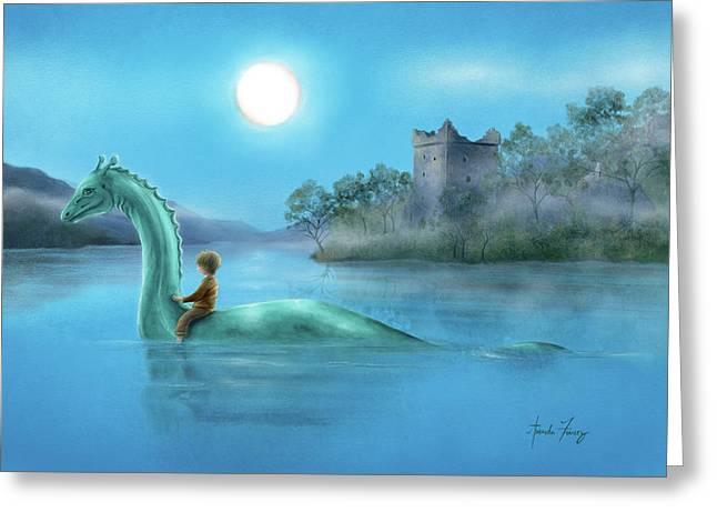 Sailing Nessie Greeting Card by Amanda Francey