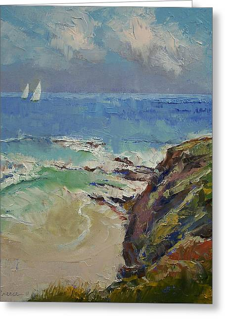Sailing Off The Cove Greeting Card by Michael Creese
